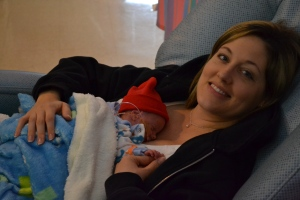 Mommy creating some tummy / snuggle time with Nolan