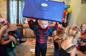 The costume gives him super strength.